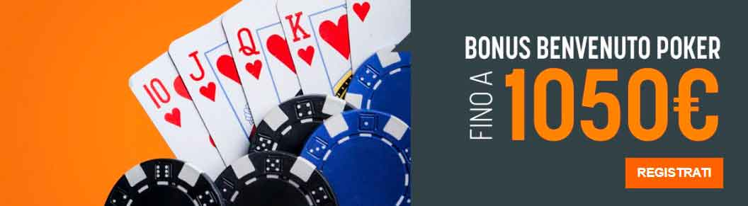 Bonus benvenuto Snai per Poker